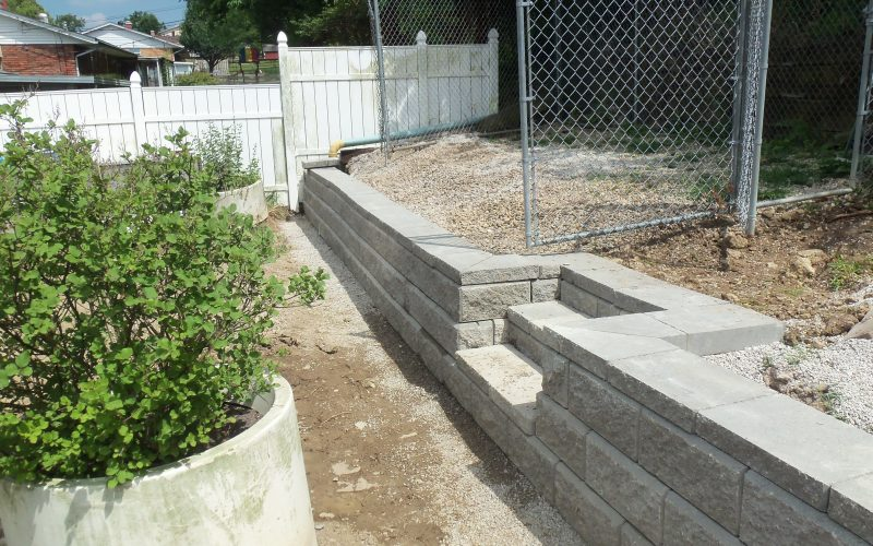 Block Retaining Wall Tie Backs : Rail road tie removal new allen block retaining wall cincinnati oh