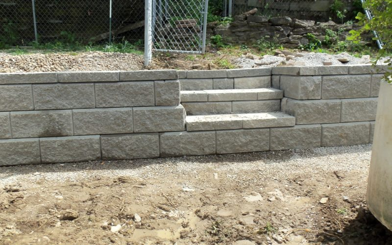 Block Retaining Wall Tie Backs : Rail road tie removal new allen block retaining wall cincinnati oh
