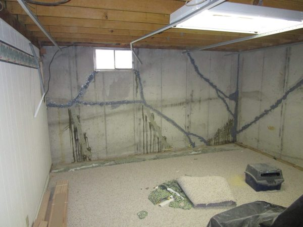 basement walls injected with epoxy