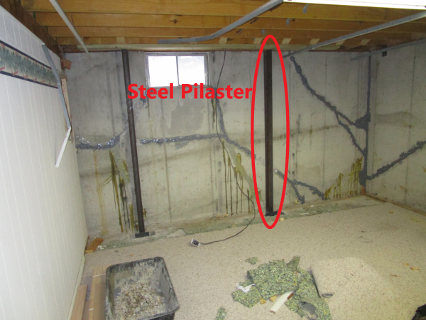 Steel Pilaster on basement wall